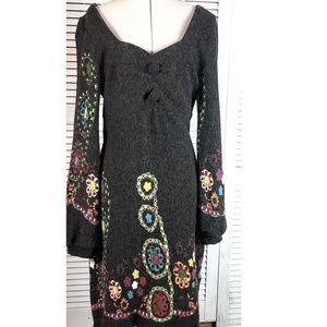 Aryeh Hippie Boho Style Jumper Sweater Dress Med